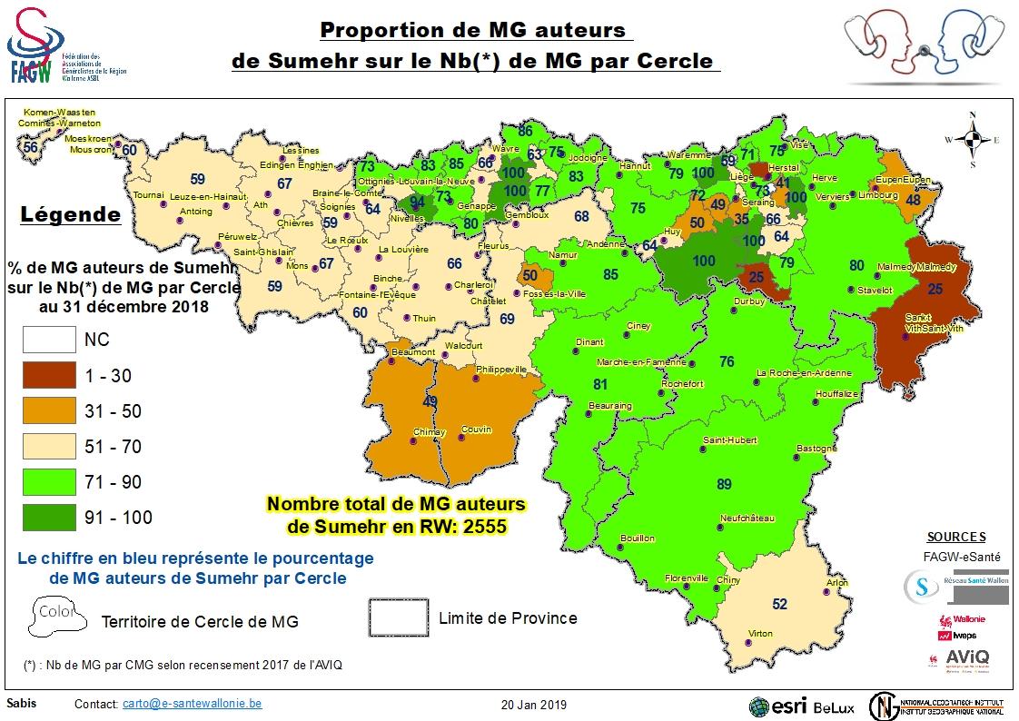 Proportion de MG auteurs sur nbre de MG par cercle au 31/12/2018