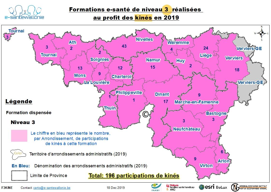 Participation Kiné 2019 Formation Niveau 3 au 31/12/2019